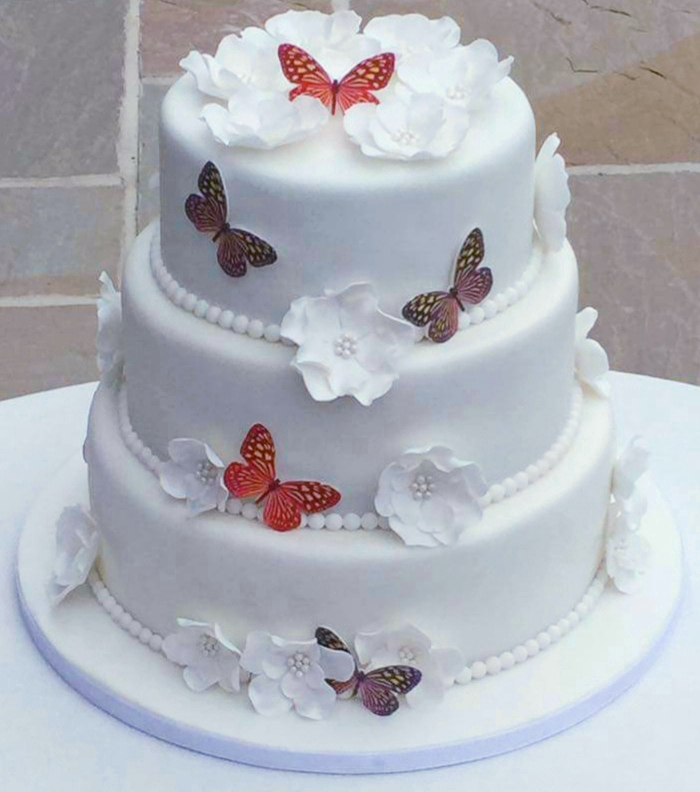 3 tier wedding cake with multicoloured butterflies and white flower decorations