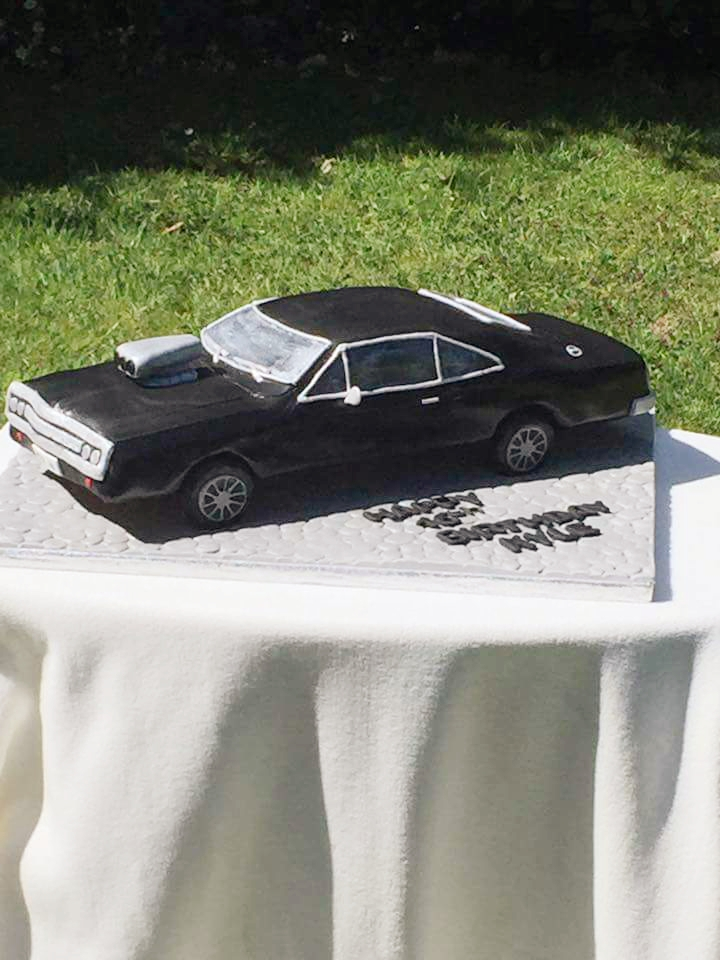 Vintage car shaped birthday cake
