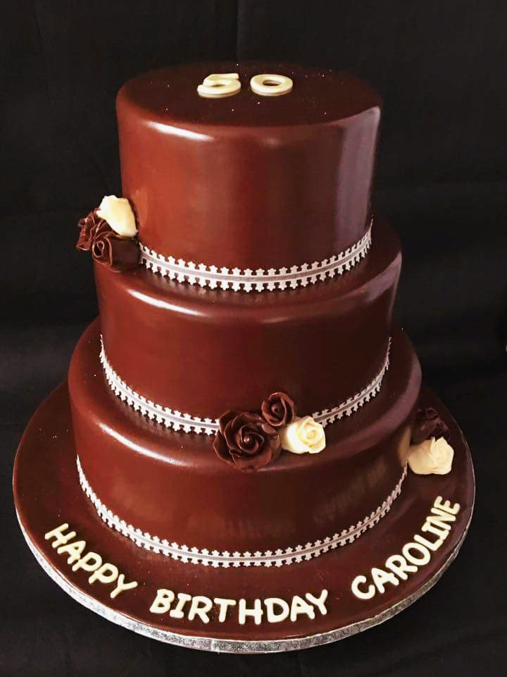 Spectacular 3 Tier Chocolate 50th Birthday Cake