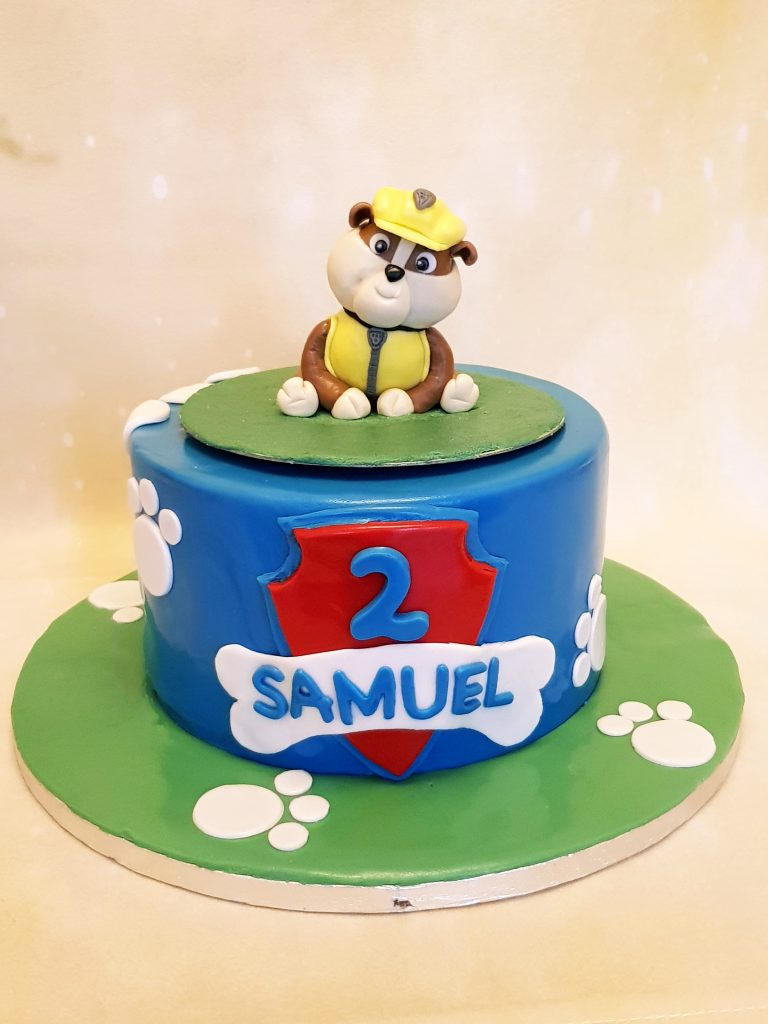 Rubble from Paw Patrol 2nd birthday cake
