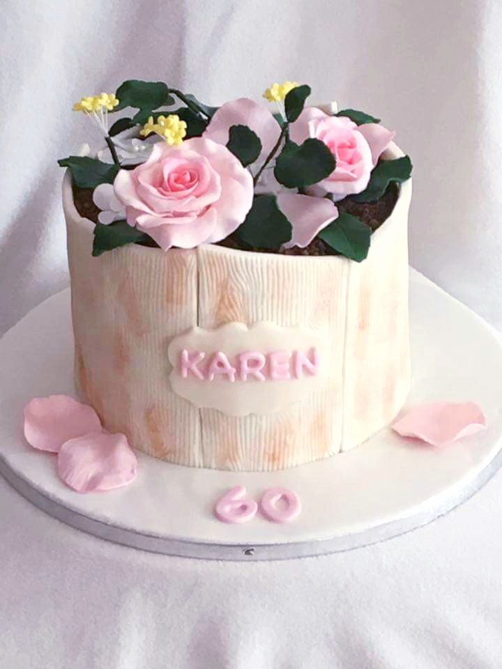 Pink rose themed birthday cake