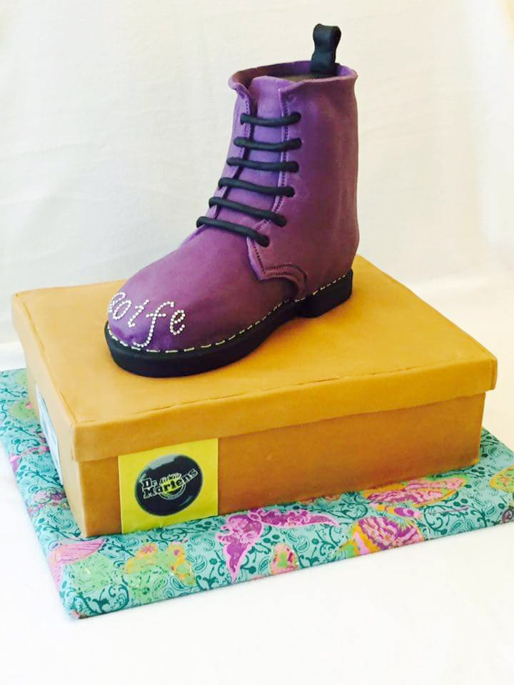 Dr Martens boot on top of box birthday cake