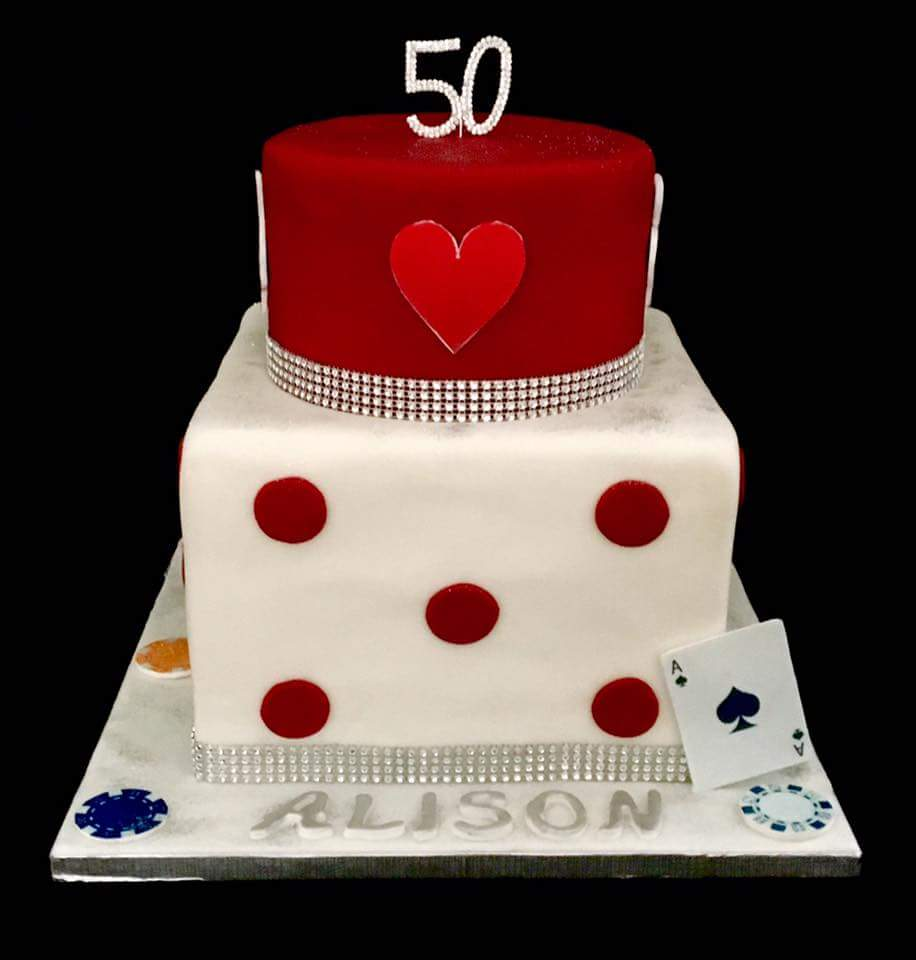 Queen of hearts themed 50th birthday cake